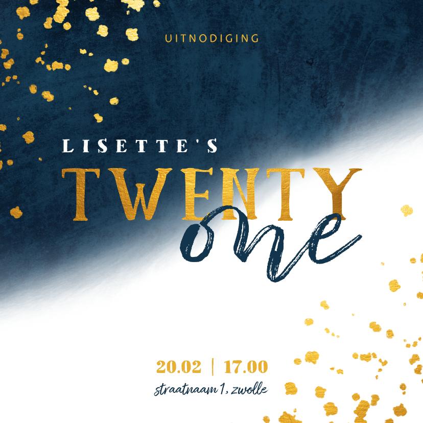 Uitnodigingen - Uitnodiging 21 diner met gouden spetters en waterverf