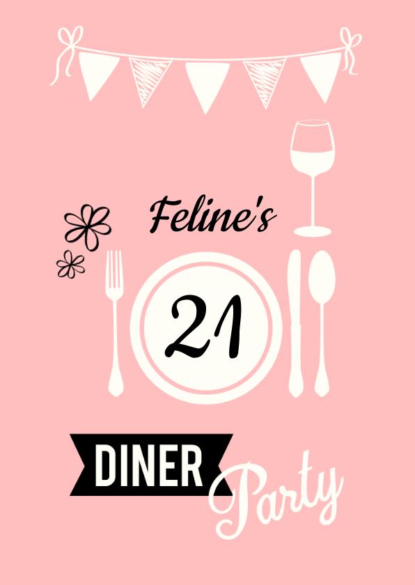 Uitnodigingen - Uitnodiging 21 diner naam, leeftijd en kleur aanpasbaar