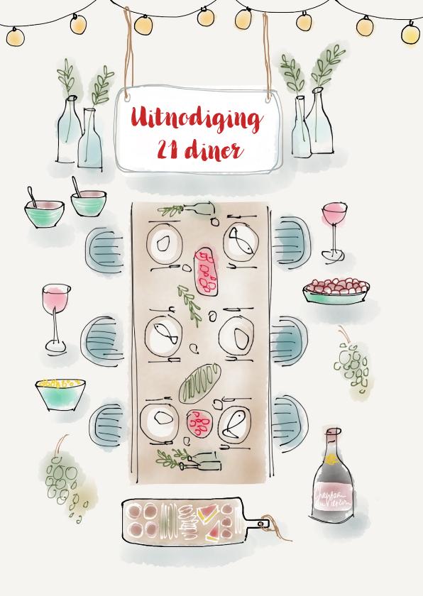 Uitnodigingen - Uitnodiging 21 diner tafel