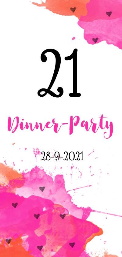 Uitnodigingen - Uitnodiging 21 dinner aquarel
