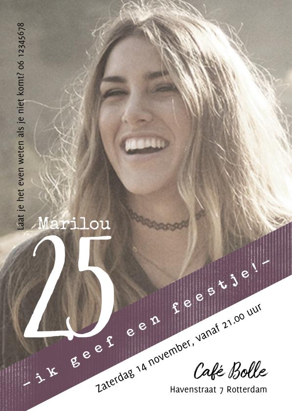 Uitnodigingen - Uitnodiging 25, modern/eenvoudig  met foto