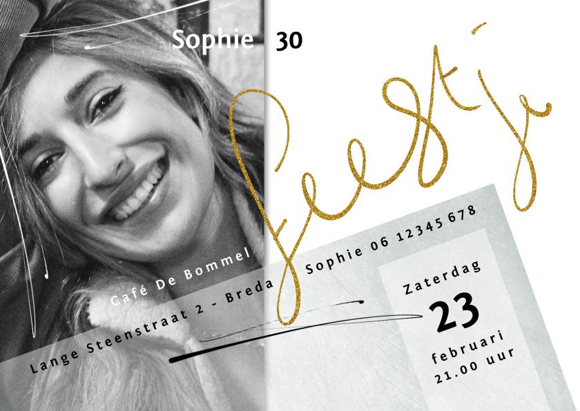 Uitnodigingen - Uitnodiging 30, met goudkleurige tekst op witte achtergrond