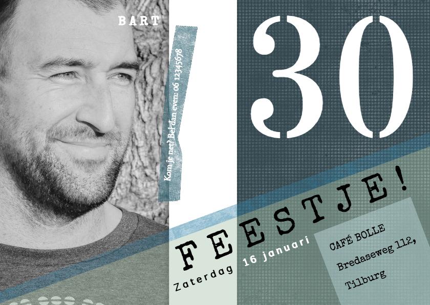 Uitnodigingen - Uitnodiging 30ste verjaardag, modern en stoer met foto