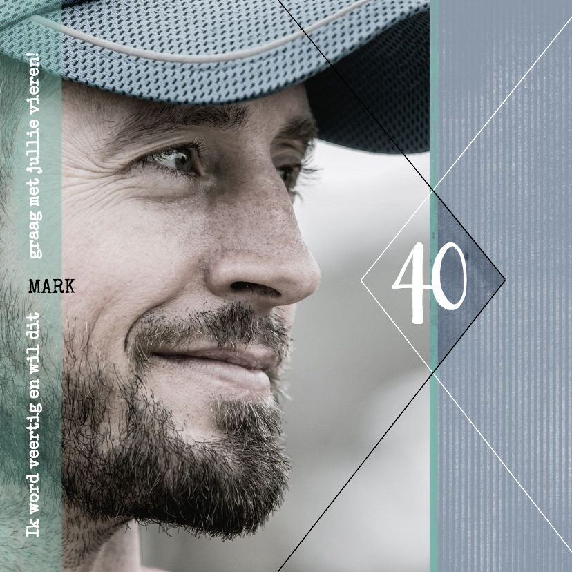 Uitnodigingen - Uitnodiging 40ste verjaardag, modern en stoer met foto