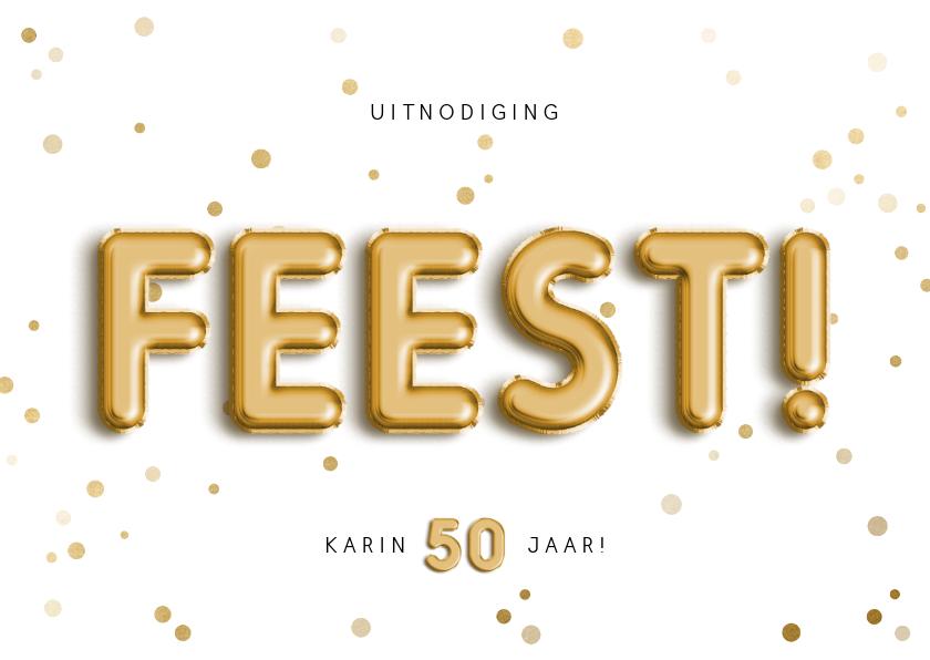 Uitnodigingen - Uitnodiging 50 feest folieballon met confetti aanpasbaar