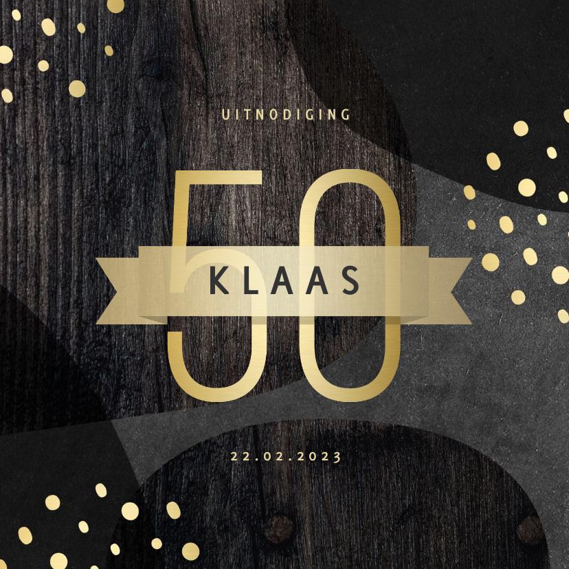 Uitnodigingen - Uitnodiging 50 jaar goud met krijtbord en hout abstract