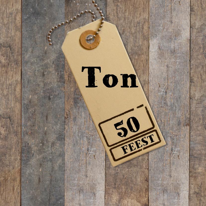 Uitnodigingen - Uitnodiging 50 jaar - hout met label
