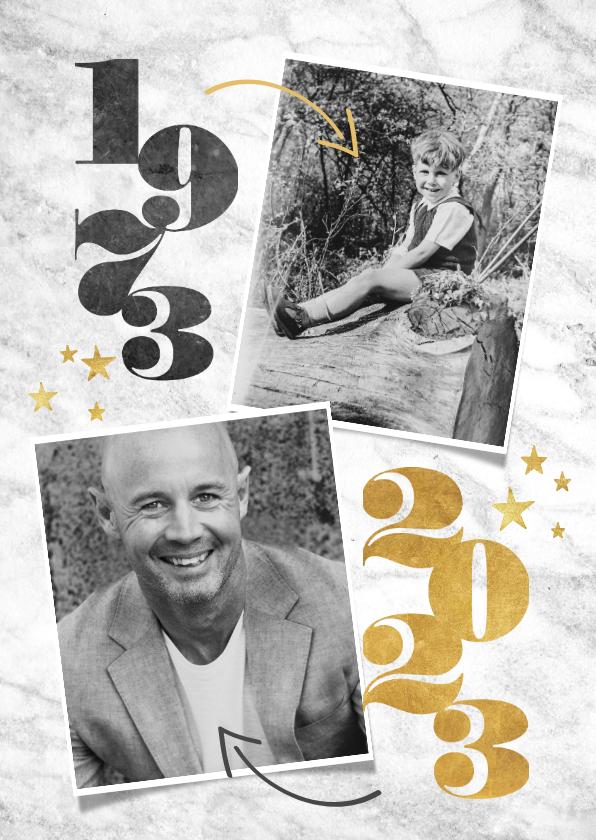 Uitnodigingen - Uitnodiging 50 jaar met jaartallen, foto's, marmer & sterren