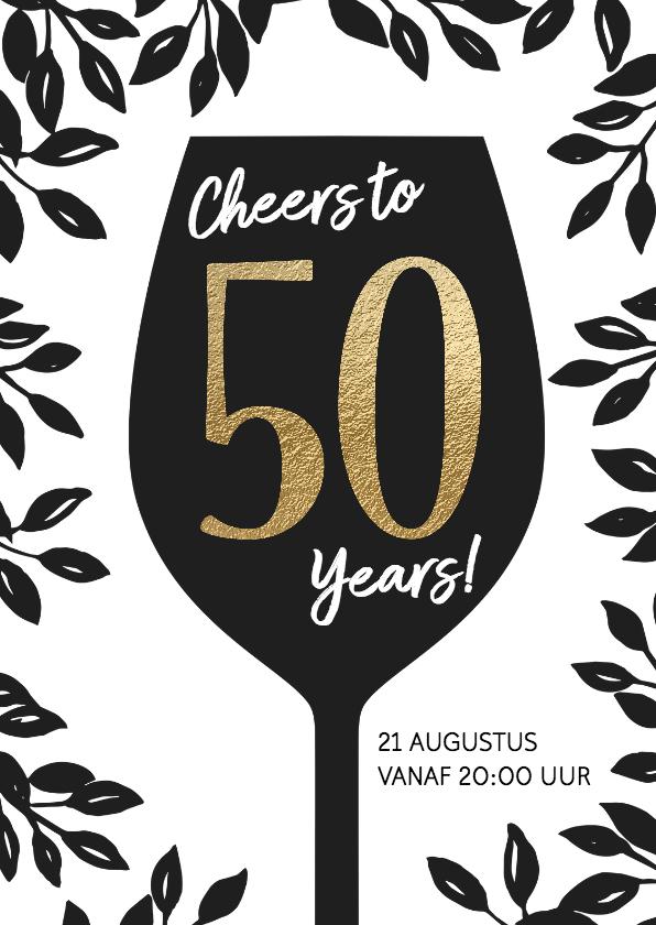 Uitnodigingen - Uitnodiging 50 jaar wijnglas Cheers