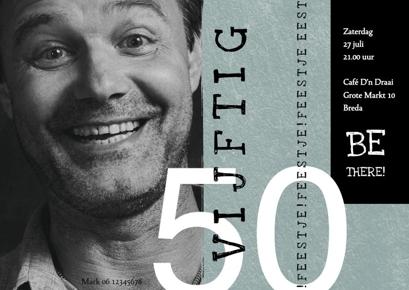 Uitnodigingen - Uitnodiging 50, modern met speelse typografie