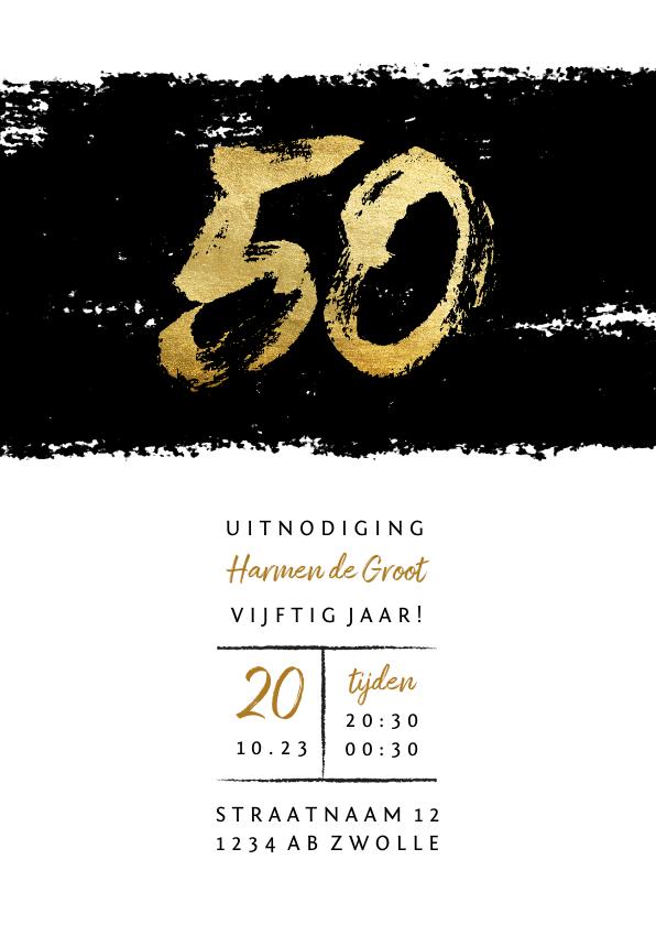 Uitnodigingen - Uitnodiging 50 stoer met zwarte inkt