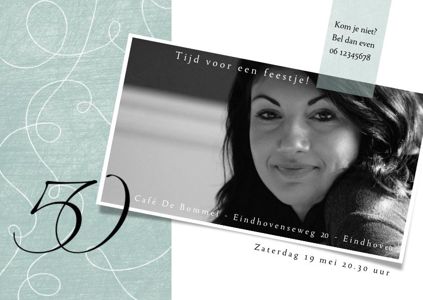 Uitnodigingen - Uitnodiging 50ste verjaardag, met sierlijke lijnen