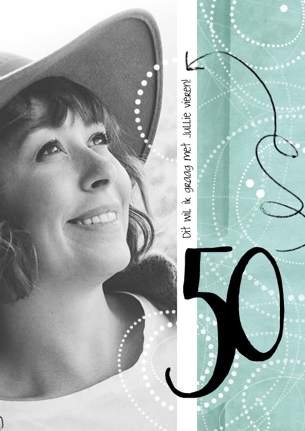 Uitnodigingen - Uitnodiging 50ste verjaardag, modern en speels