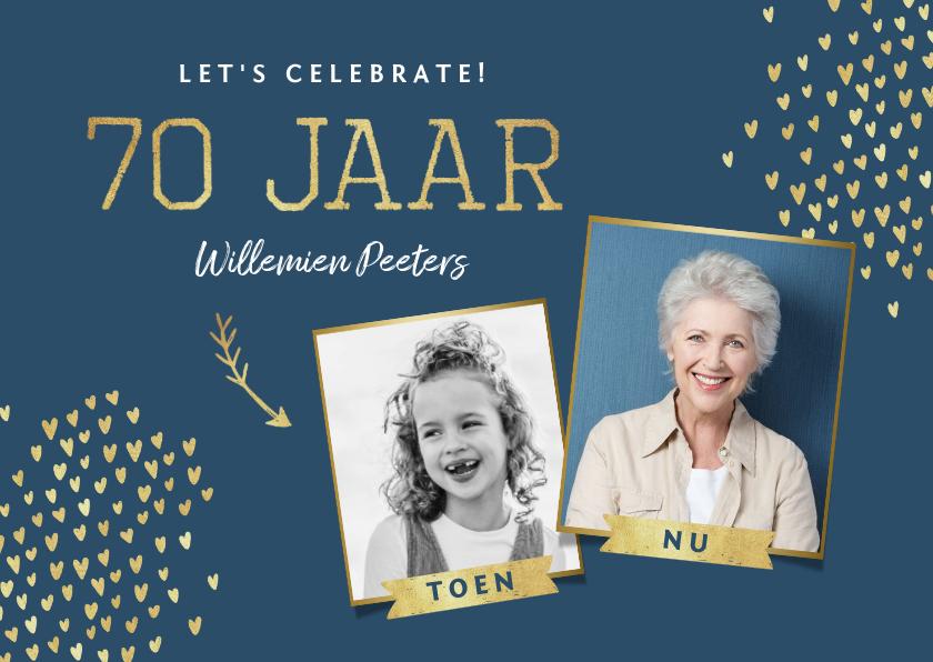 Uitnodigingen - Uitnodiging 70 jaar stijlvol goud toen en nu
