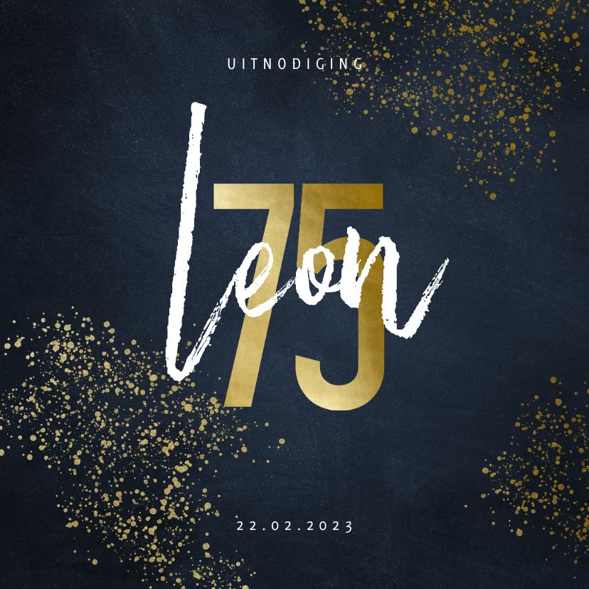 Uitnodigingen - Uitnodiging 75 in goudlook met goudspetters