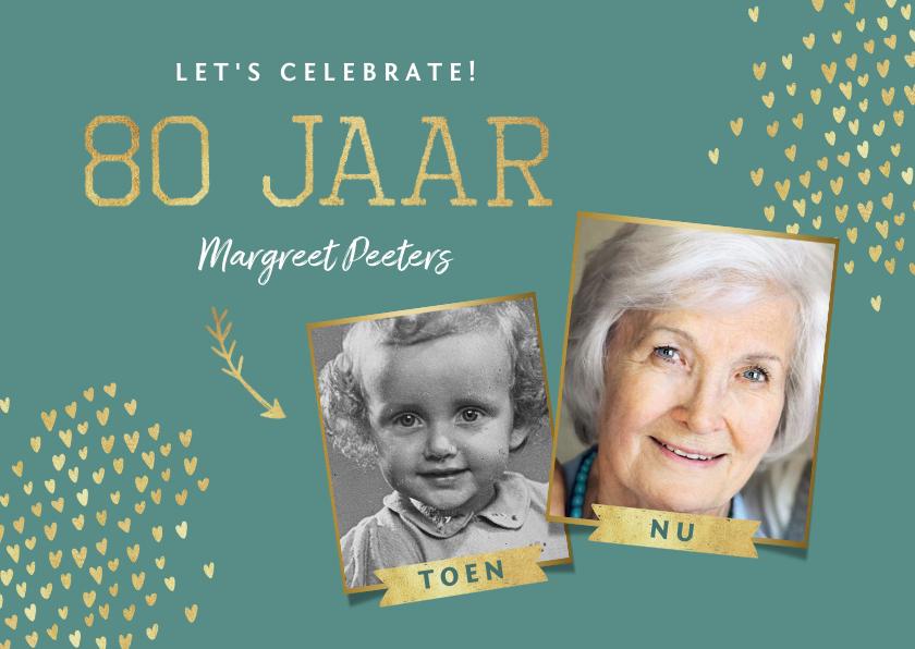 Uitnodigingen - Uitnodiging 80 jaar stijlvol goud toen en nu