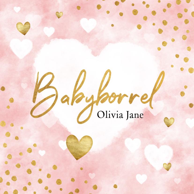 Uitnodigingen - Uitnodiging babyborrel met roze waterverf, hartjes & stipjes