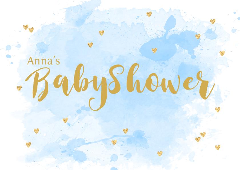 Uitnodigingen - Uitnodiging babyshower aquarel hartjes lichtblauw