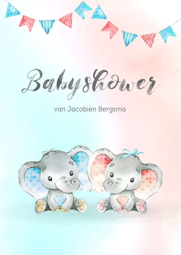 Uitnodigingen - Uitnodiging babyshower blauw/roze
