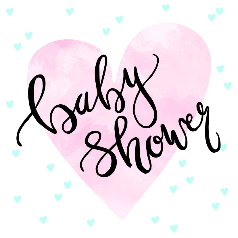 Uitnodigingen - Uitnodiging babyshower hartjes en tekst
