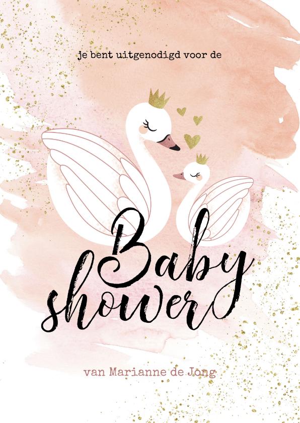 Uitnodigingen - Uitnodiging Babyshower meisje zwaan zwaantjes