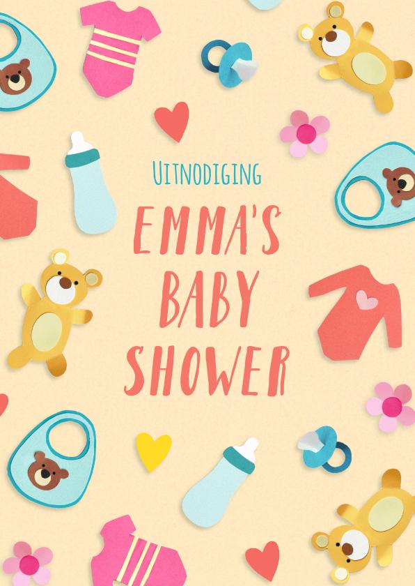 Uitnodigingen - Uitnodiging babyshower met baby spulletjes