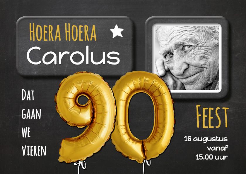 Uitnodigingen - Uitnodiging Ballon 90 goud op krijtbord