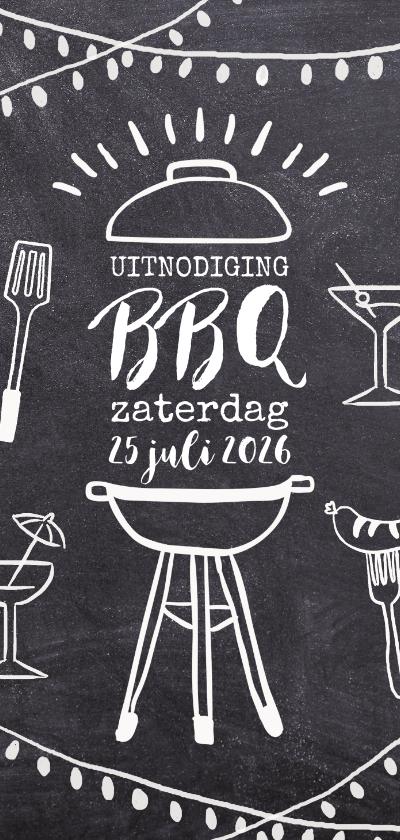 Uitnodigingen - Uitnodiging barbecue feest krijtbord lichtjes