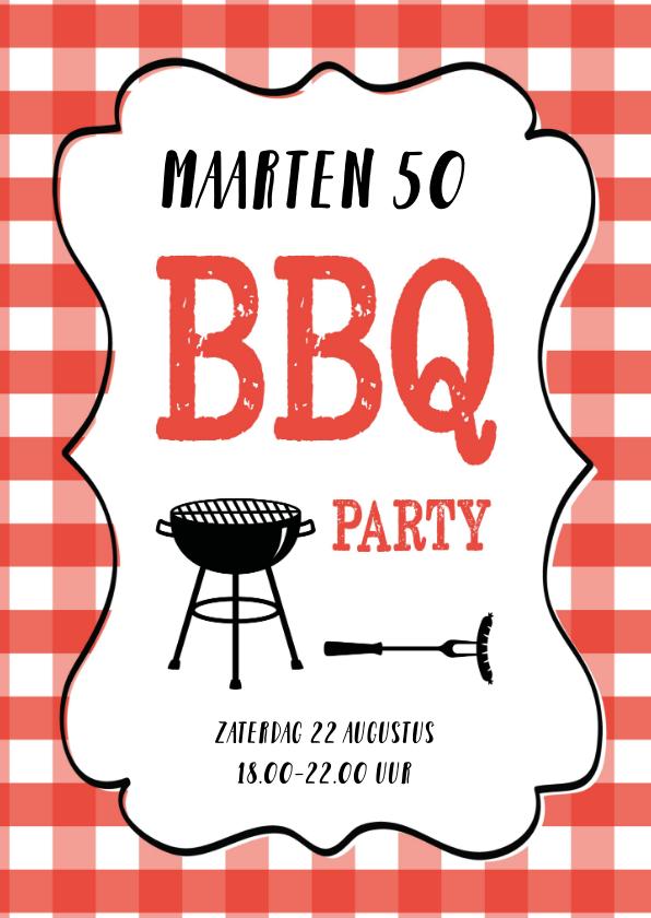 Uitnodigingen - Uitnodiging barbecue rode ruitjes en tekstkader