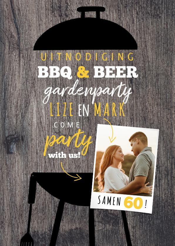 Uitnodigingen - Uitnodiging BBQ & Beers samen 60 met foto