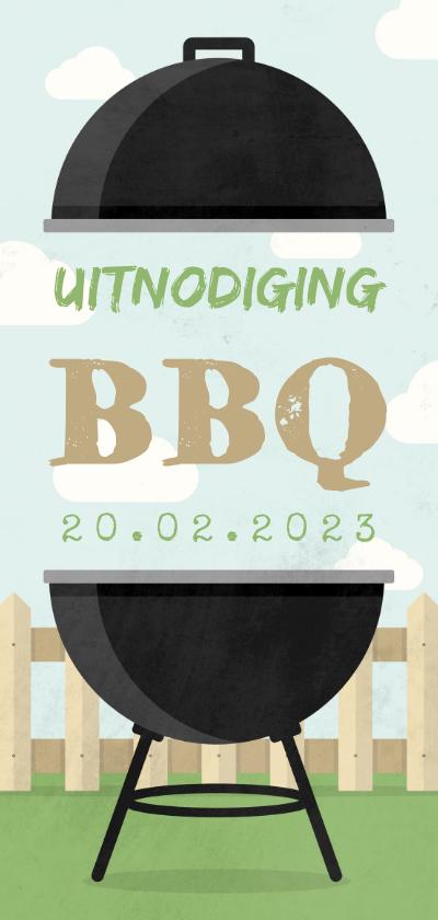 Uitnodigingen - Uitnodiging BBQ met barbecue, hekje en wolken