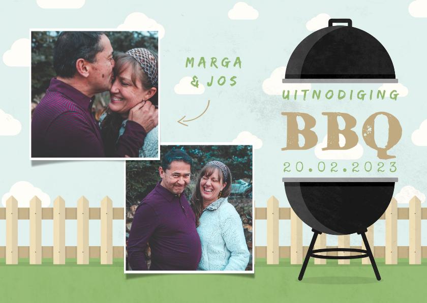 Uitnodigingen - Uitnodiging BBQ met foto's, barbecue, hekje en wolken