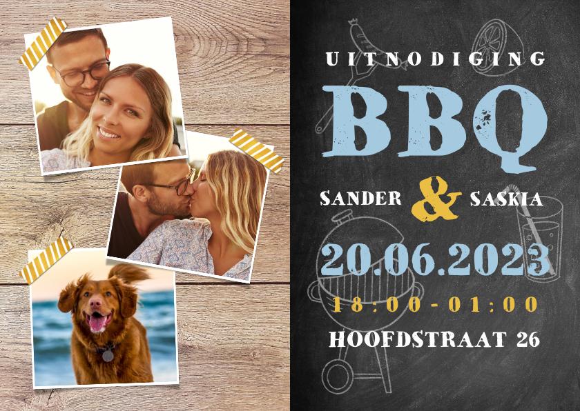 Uitnodigingen - Uitnodiging BBQ met hout, krijtbord, illustraties en foto's