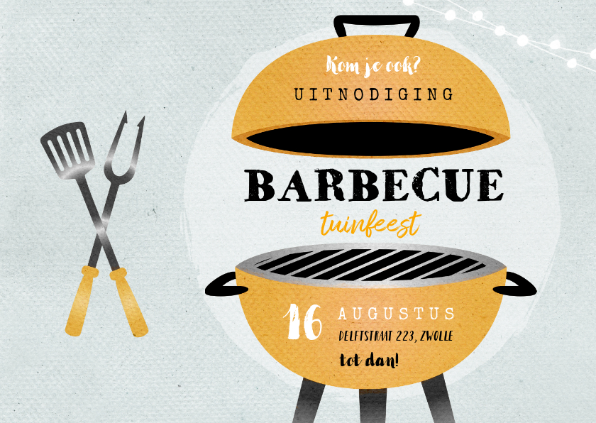 Uitnodigingen - Uitnodiging bbq tuinfeest barbecue grill vintage illustratie