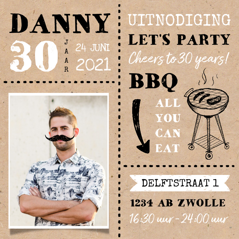 Uitnodigingen - Uitnodiging BBQ tuinfeest verjaardag man