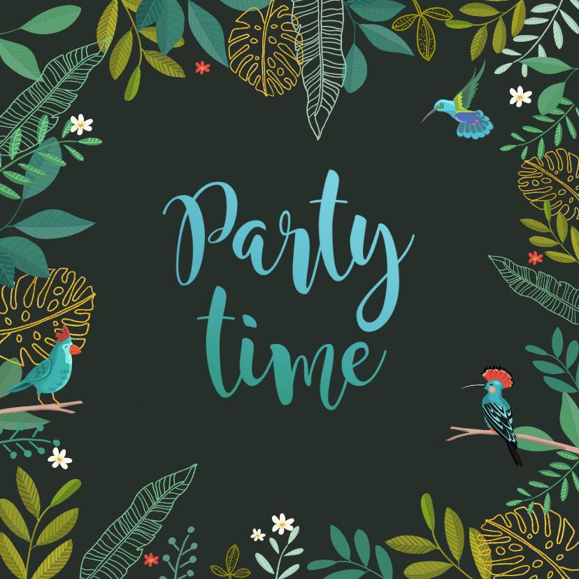 Uitnodigingen - Uitnodiging bladeren en vogels met donkere achtergrond