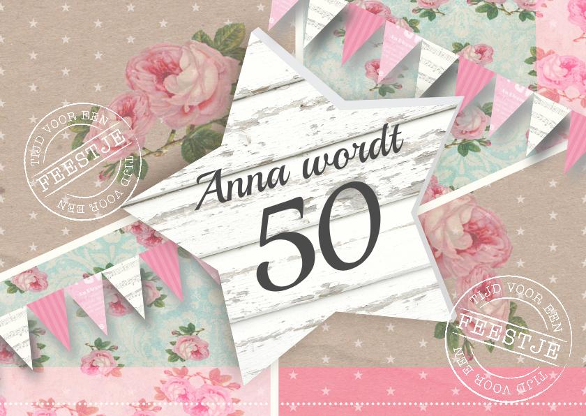 Uitnodigingen - Uitnodiging bloemen ster vlaggetjes vrouw