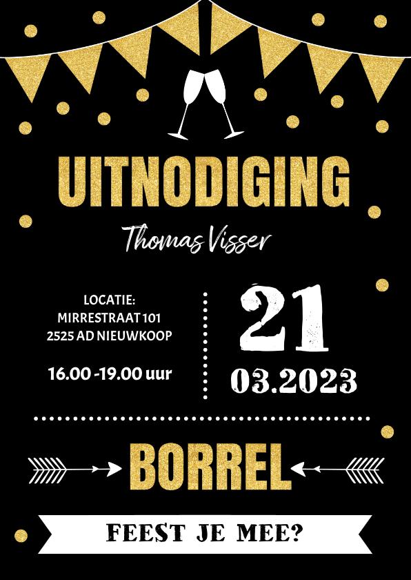 Uitnodigingen - Uitnodiging borrel typografie slinger goudlook confetti