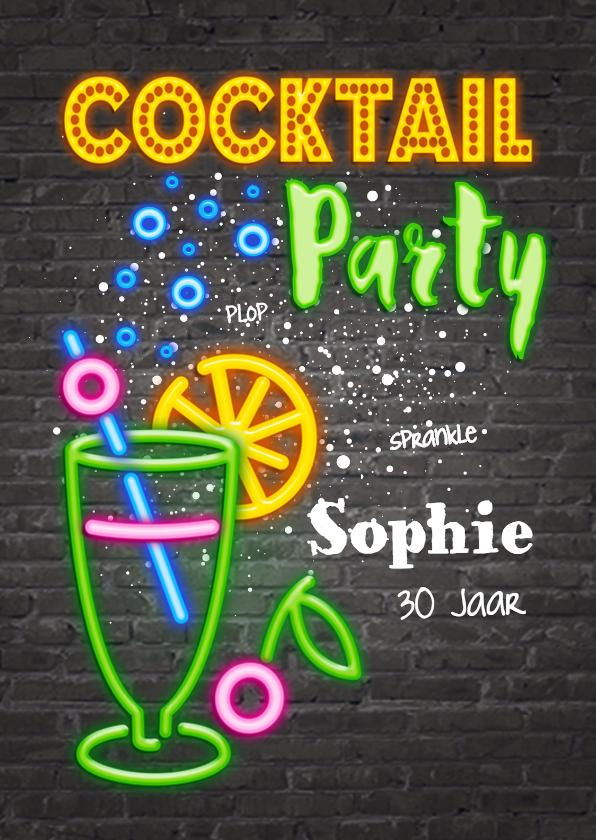 Uitnodigingen - Uitnodiging cocktail party met neon