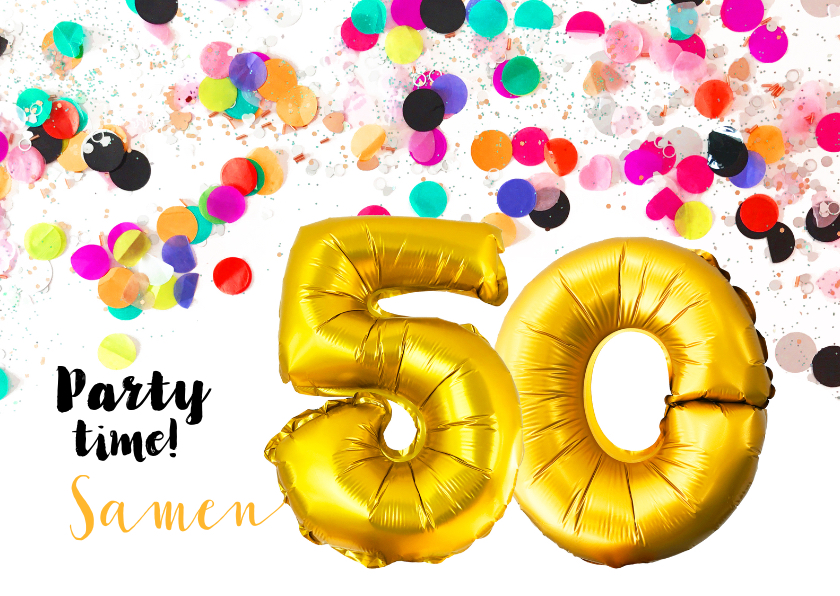 Uitnodigingen - Uitnodiging confetti 50 jaar