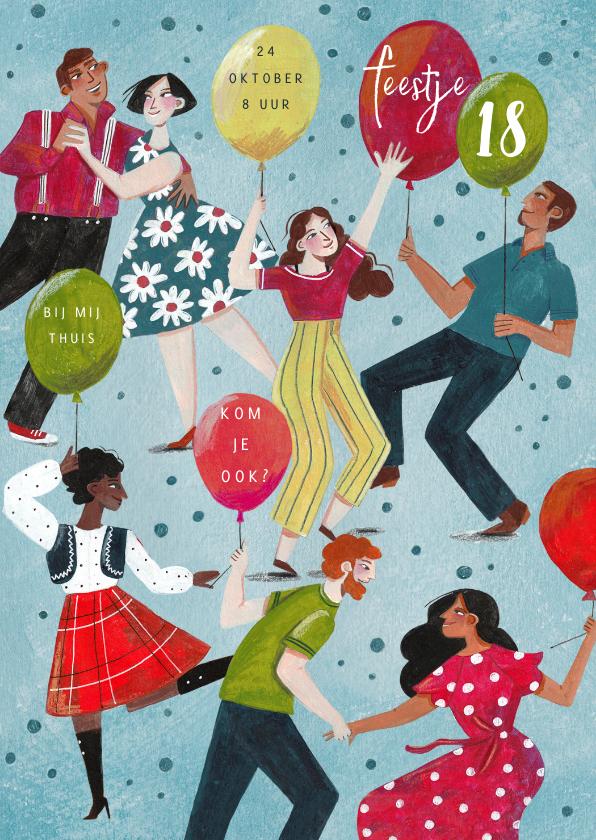 Uitnodigingen - Uitnodiging dansende mensen en ballonnen