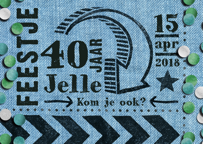 Uitnodigingen - uitnodiging  denim stempel hip man