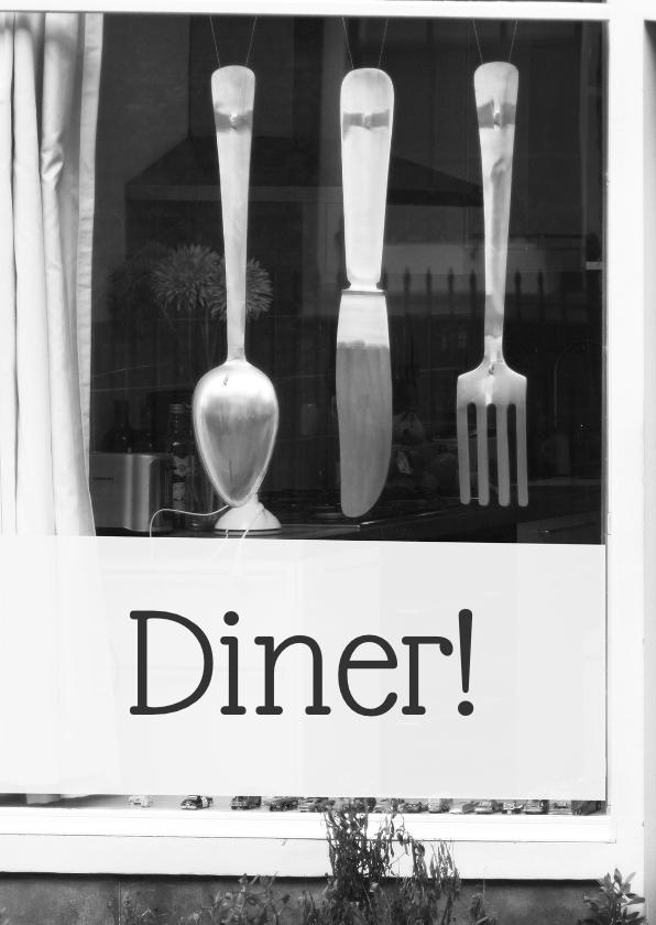 Uitnodigingen - Uitnodiging diner foto bestek