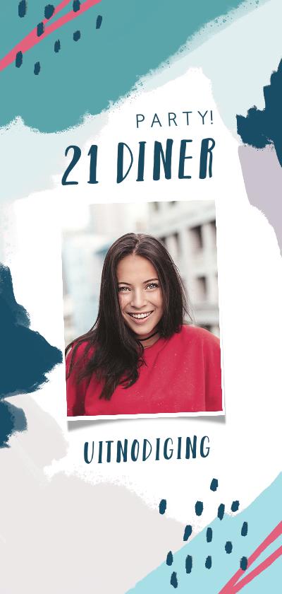 Uitnodigingen - Uitnodiging etentje 21 diner abstract met eigen foto
