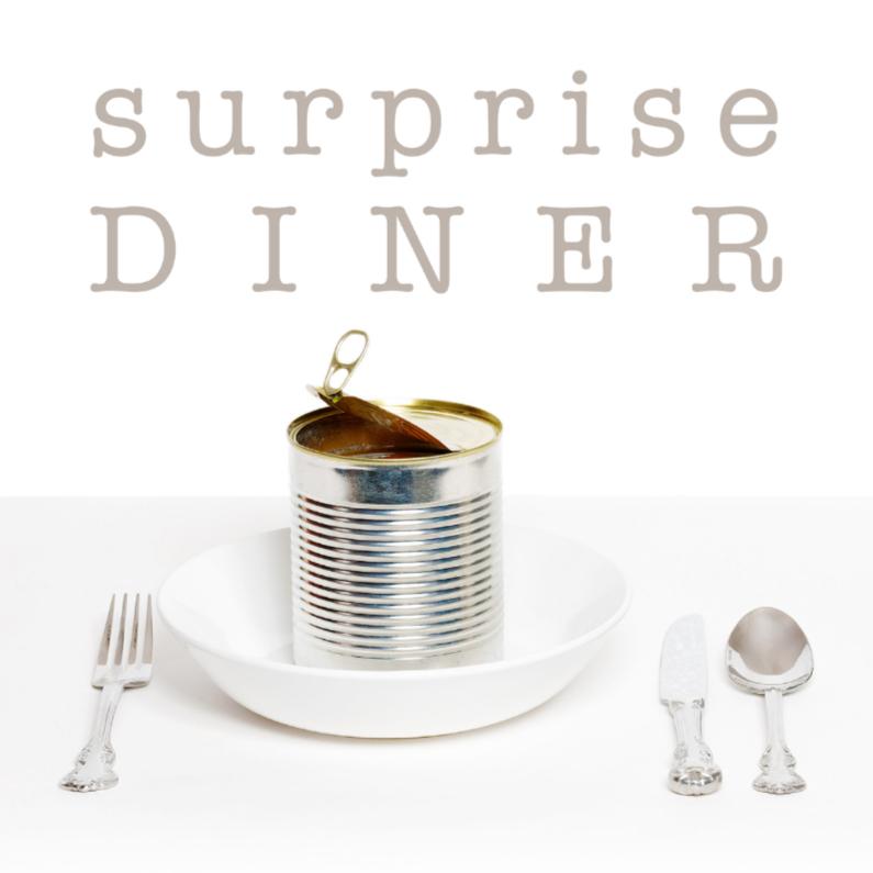 Uitnodigingen - Uitnodiging etentje - Surprise Diner