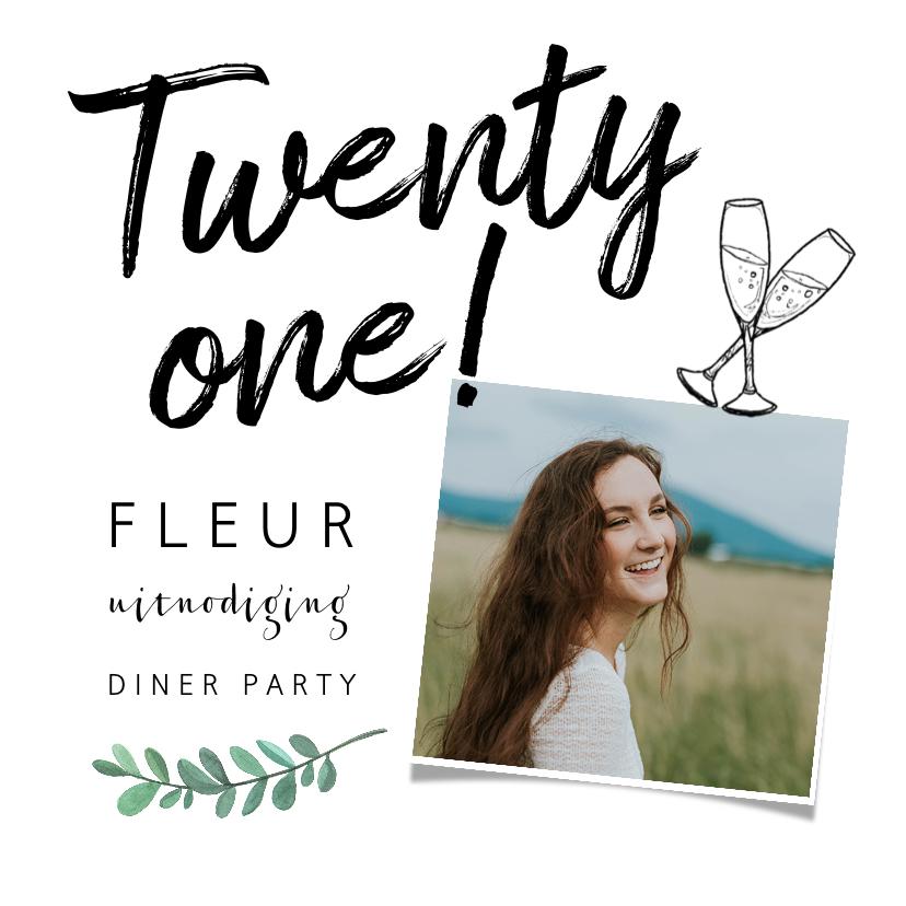 Uitnodigingen - Uitnodiging etentje verjaardag 21 diner