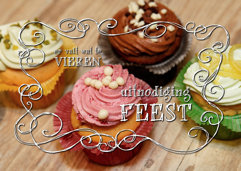 Uitnodigingen - Uitnodiging Feest 3 - cupcakes
