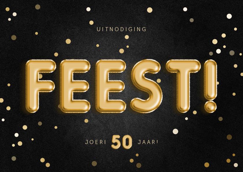 Uitnodigingen - Uitnodiging feest 50 folieballon met confetti aanpasbaar
