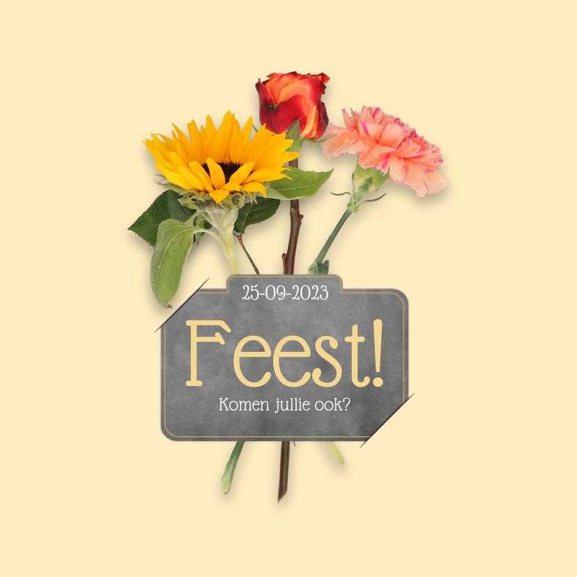 Uitnodigingen - Uitnodiging feest bloemen RB