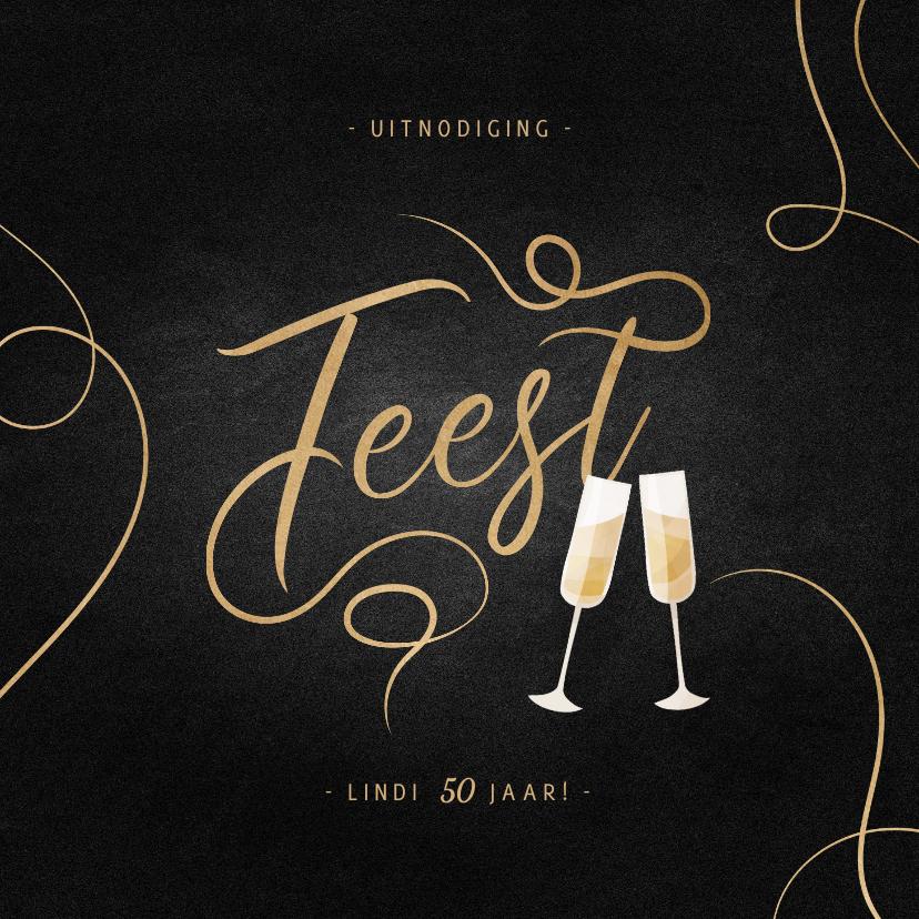 Uitnodigingen - Uitnodiging feest champagne met gouden linten